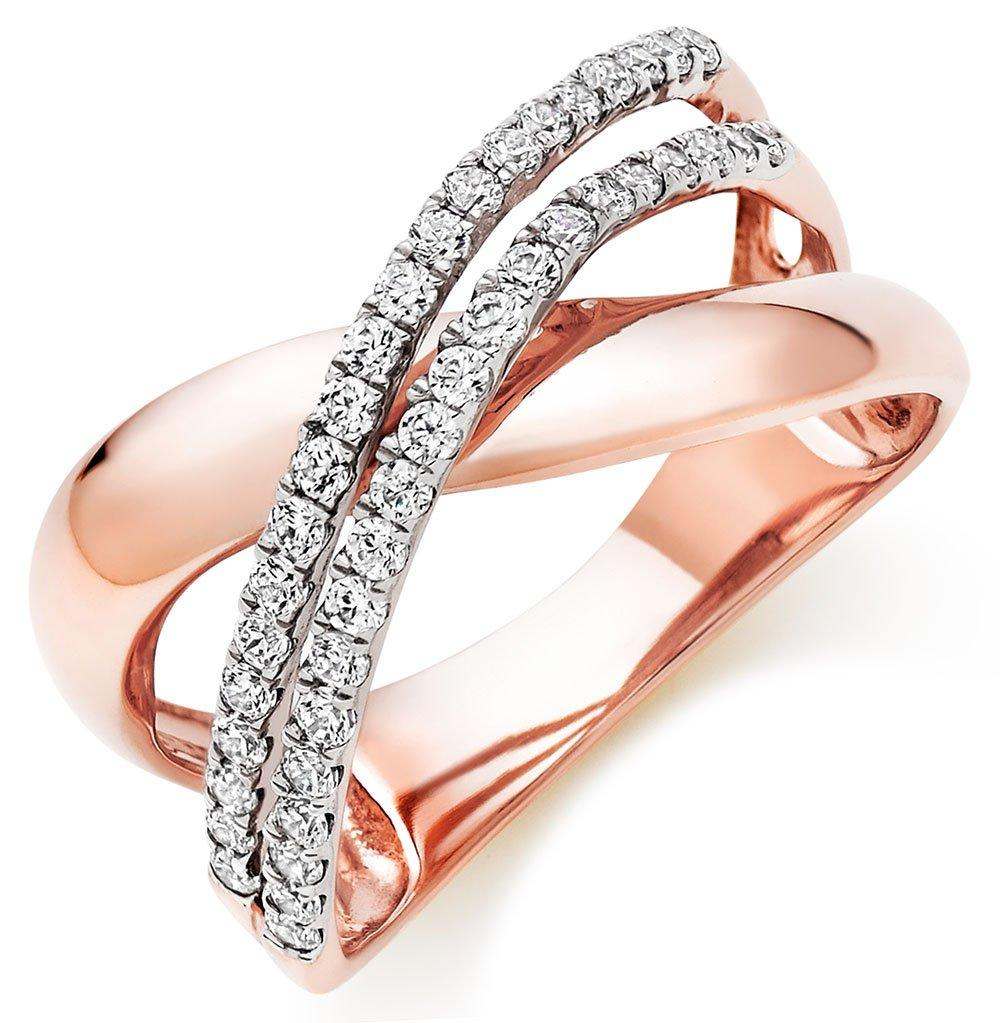 9ct Rose and White Gold Cubic Zirconia Ring