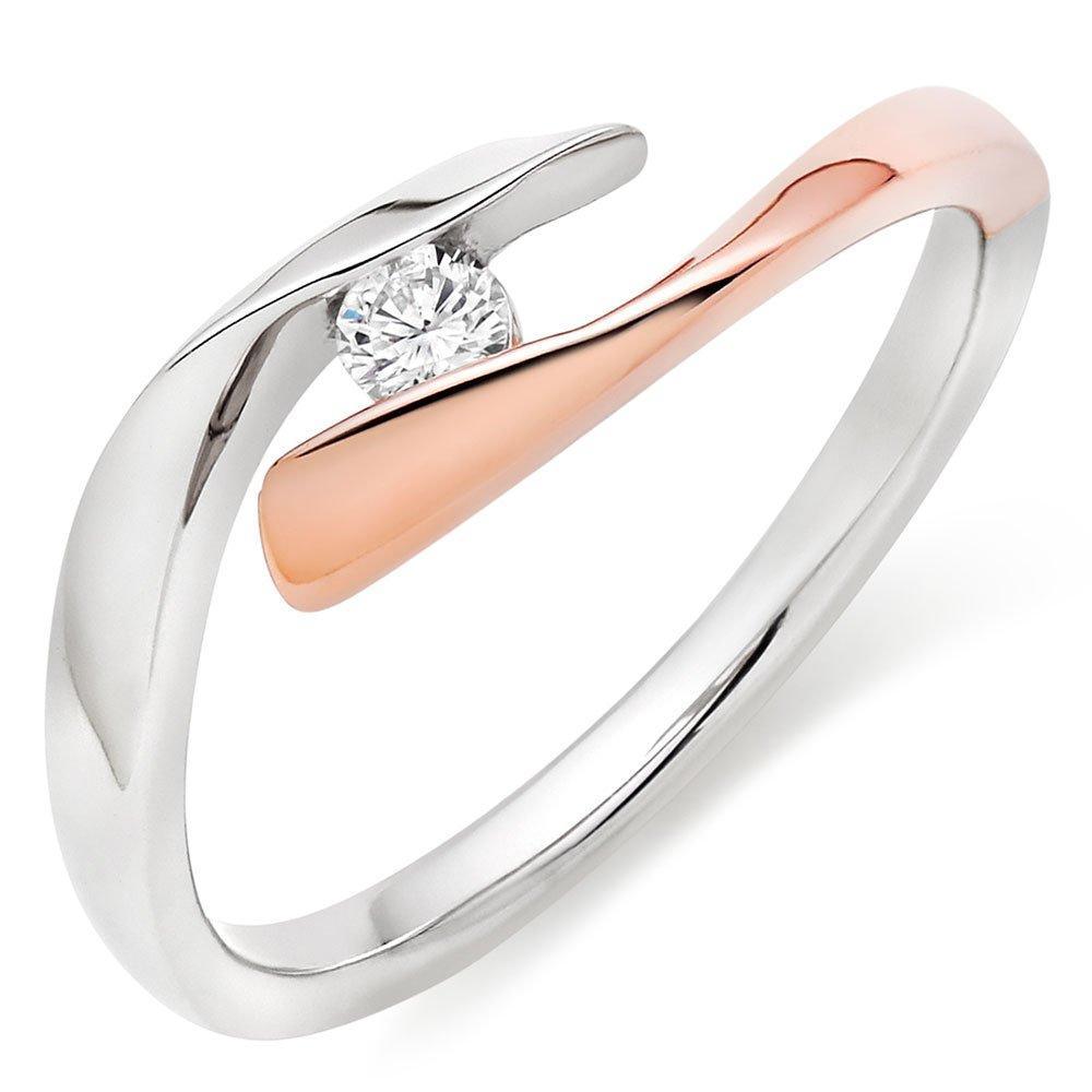 9ct Bi-Colour Gold Diamond Ring