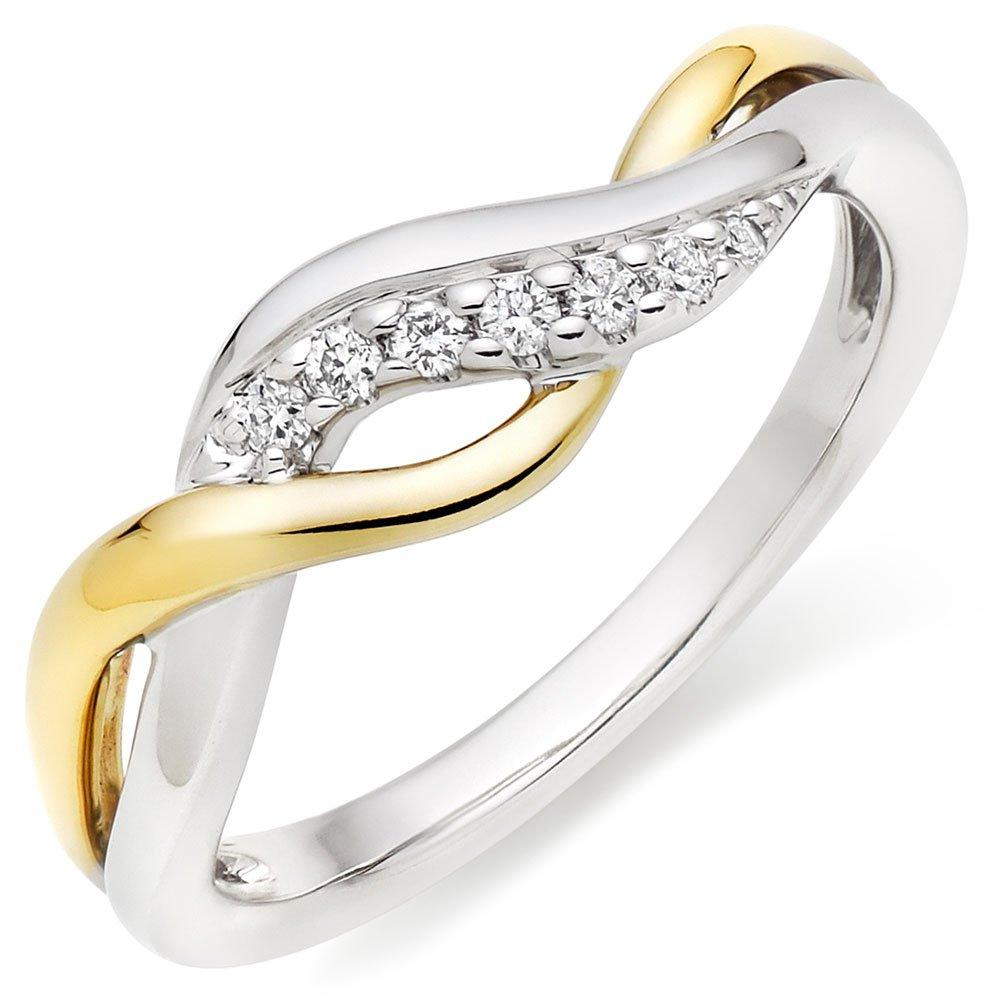 9ct White and Yellow Gold Diamond Ring