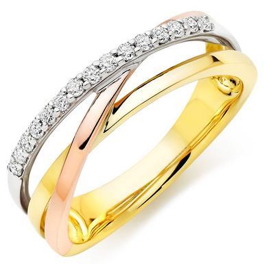 9ct Tri-Colour Diamond Ladies Ring