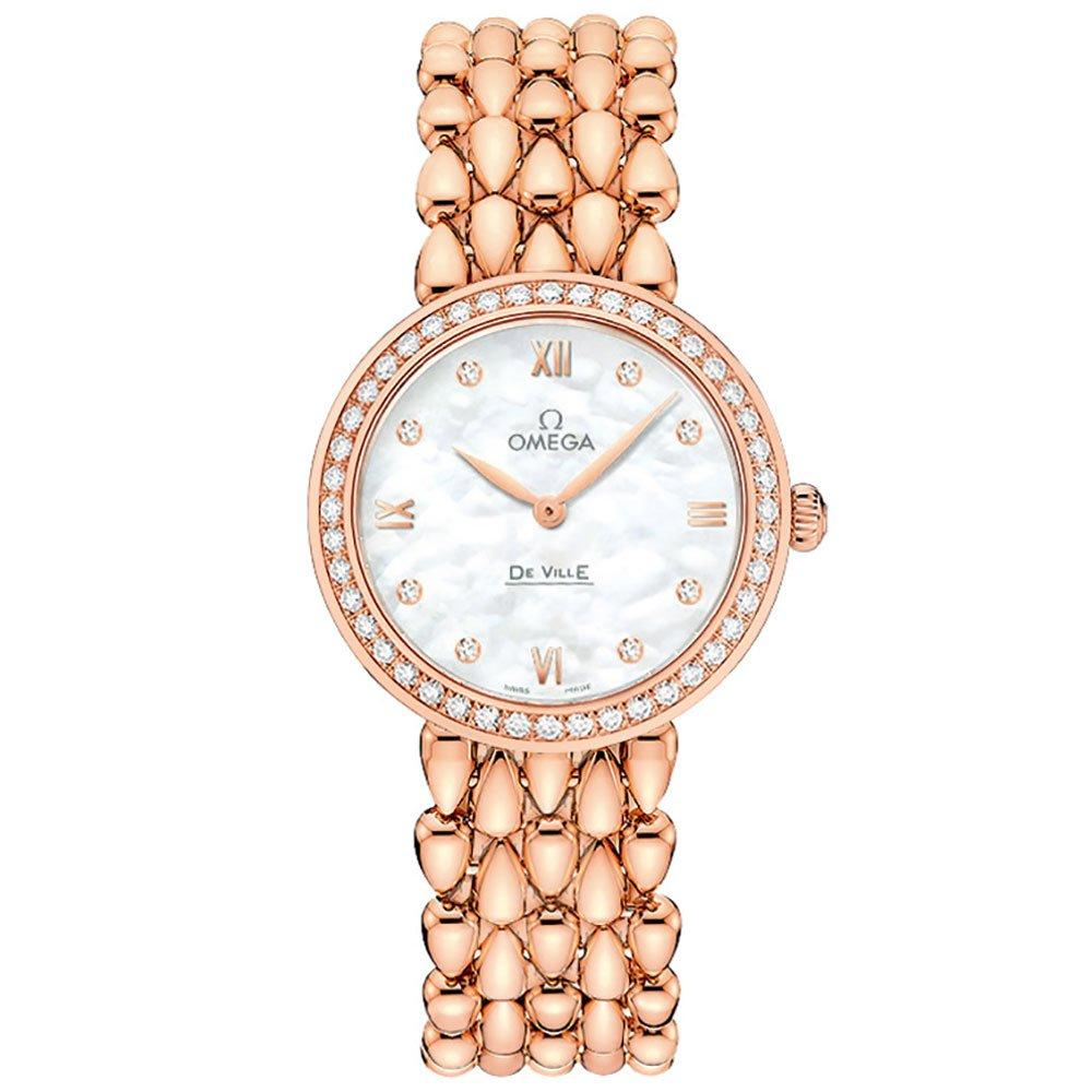 OMEGA De Ville Prestige 18ct Rose Gold Diamond Ladies Watch