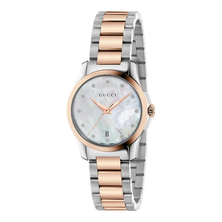Gucci G-Timeless Steel and Rose Gold PVD Diamond Ladies Watch