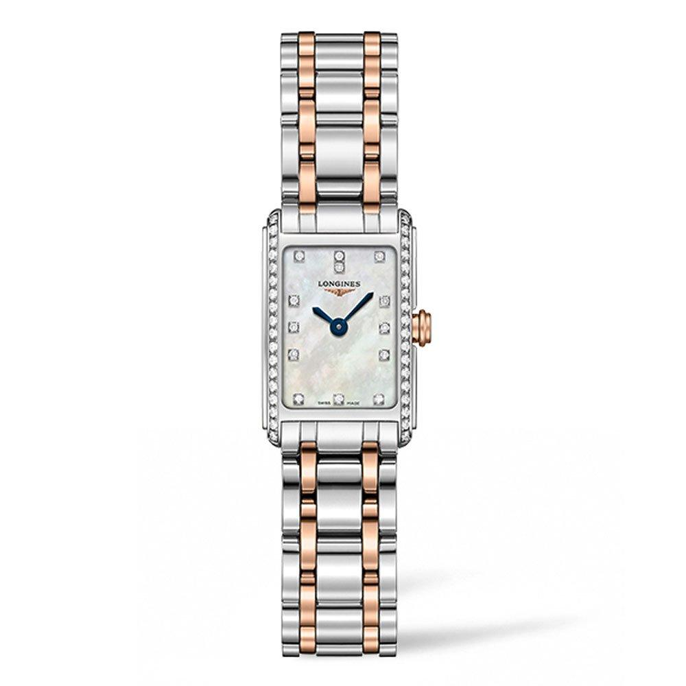 Longines DolceVita 18ct Rose Gold and Stainless Steel Diamond Ladies Watch