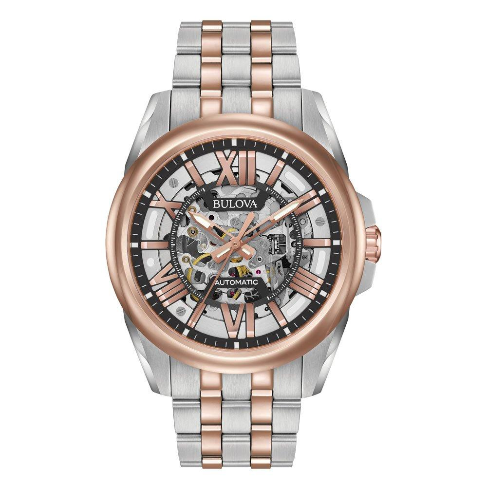Bulova Mechanical Automatic Rose Gold Tone Stainless Steel Men's Watch