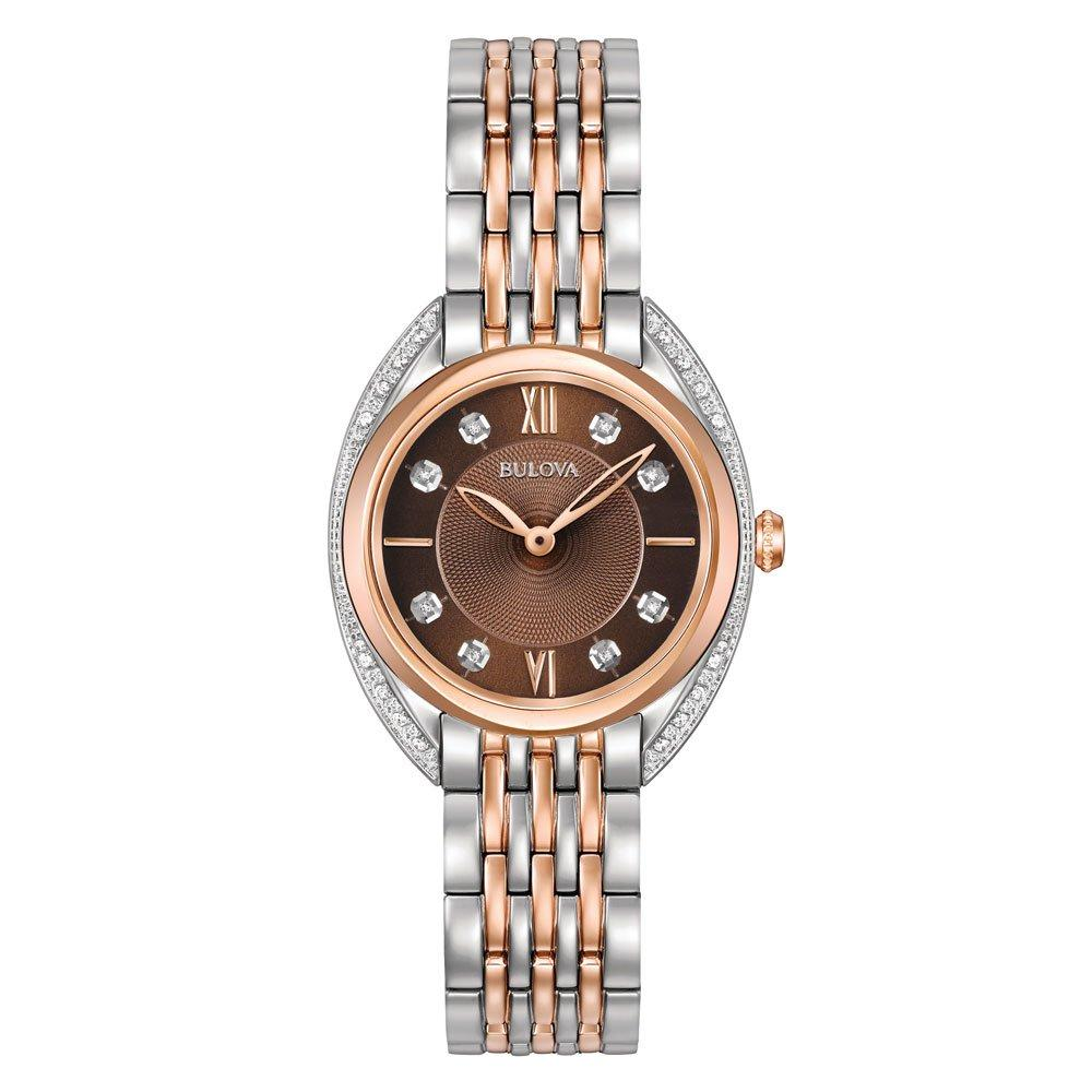 Bulova Classic Diamond Rose Gold Tone and Stainless Steel Ladies Watch