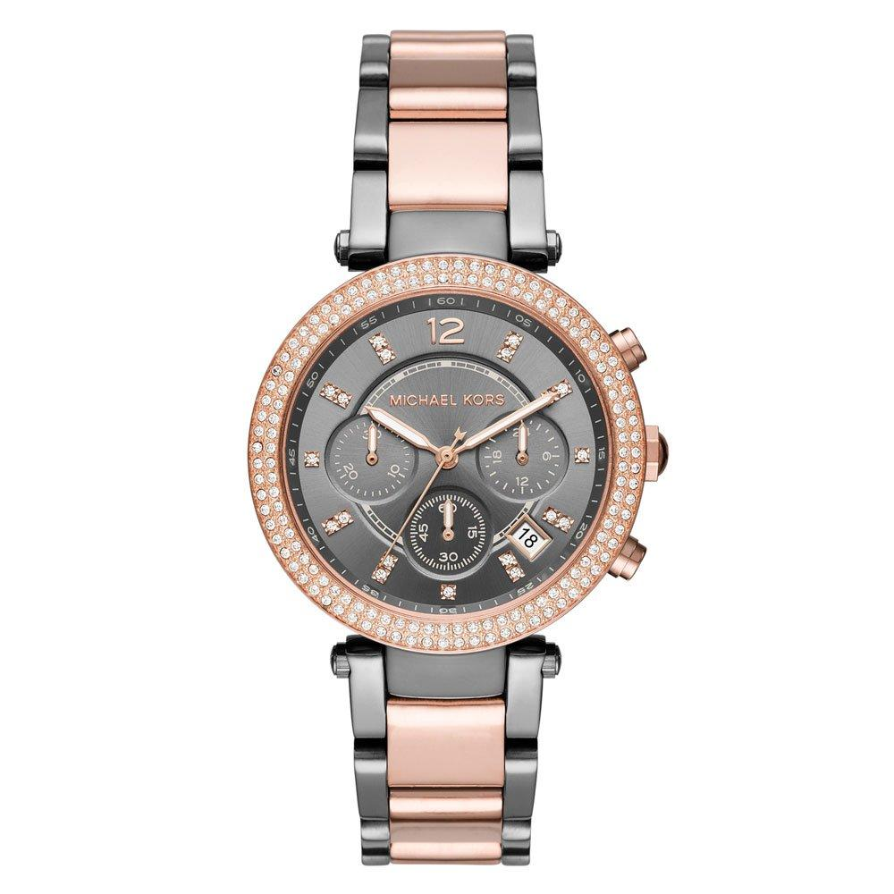 Michael Kors Parker Rose Gold Tone and Stainless Steel Crystal Ladies Watch