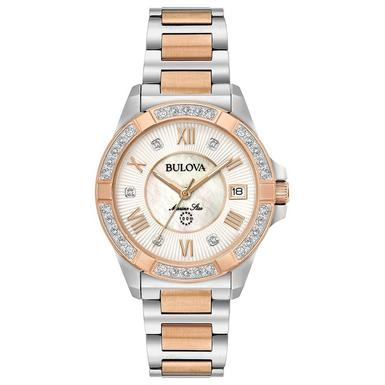 Bulova Marine Star Rose Gold Ion Plated and Stainless Steel Diamond Ladies Watch