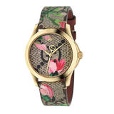 Gucci G-Timeless Pink Blooms Gold PVD Ladies Watch
