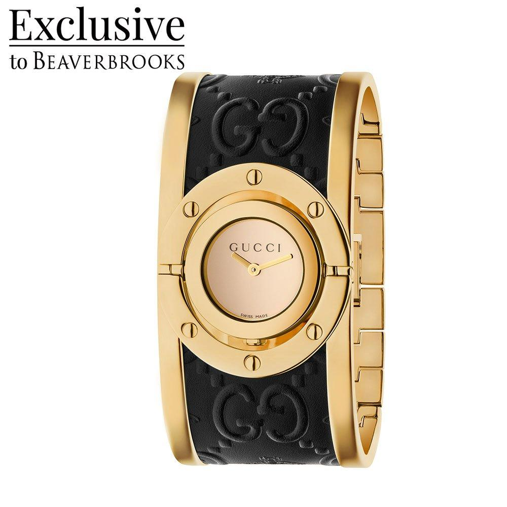 Gucci Twirl Gold Plated Leather Ladies Watch