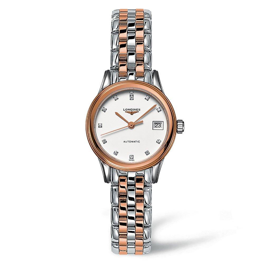 Longines Flagship Rose Gold PVD Plated and Stainless Steel Diamond Ladies Watch