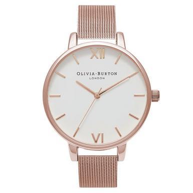 Olivia Burton Big Dial Rose Gold Plated Mesh Ladies Watch