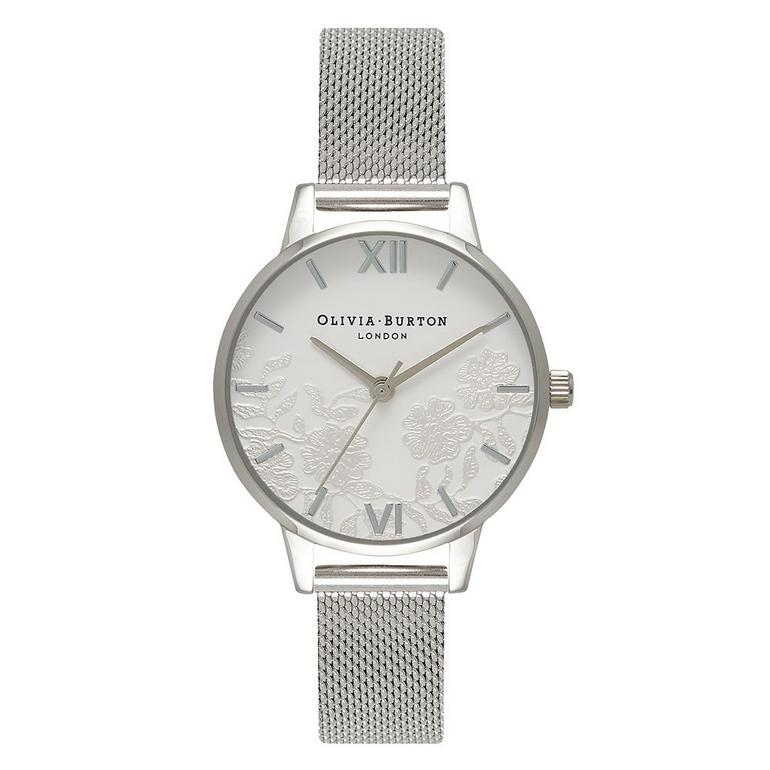 Olivia Burton Lace Detail Silver Mesh Ladies Watch