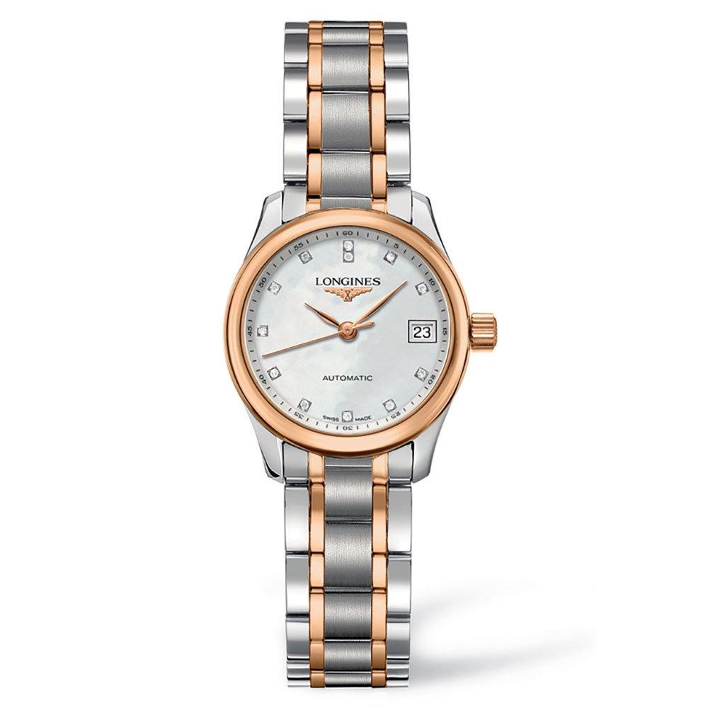 Longines Master Collection Rose Gold Plated and Steel Diamond Automatic Ladies Watch