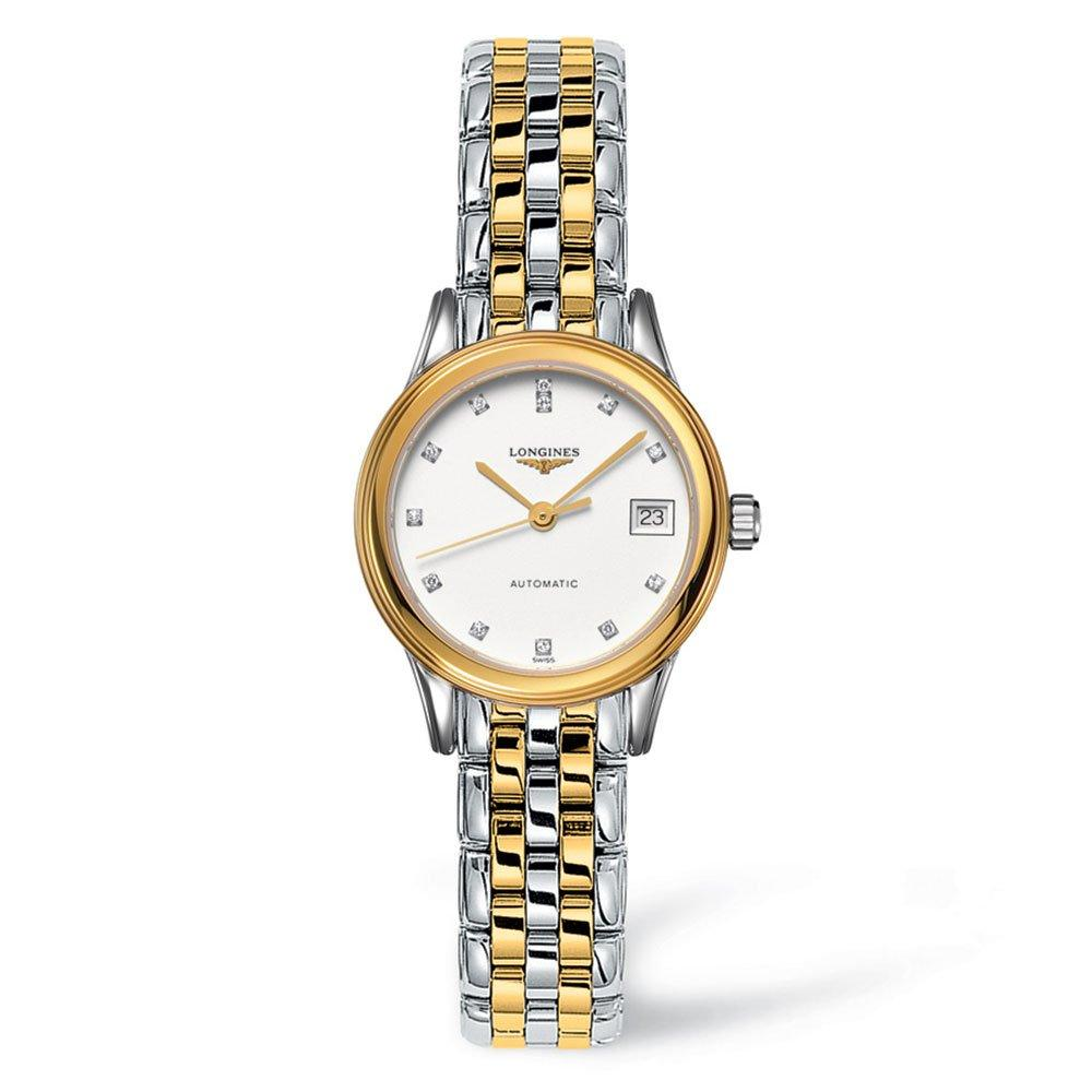 Longines Flagship Gold Plated and Steel Diamond Automatic Ladies Watch