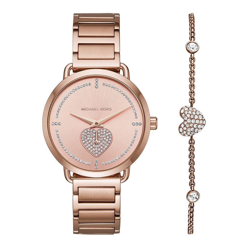 Michael Kors Portia Rose Gold Tone Ladies Watch and Bracelet Set