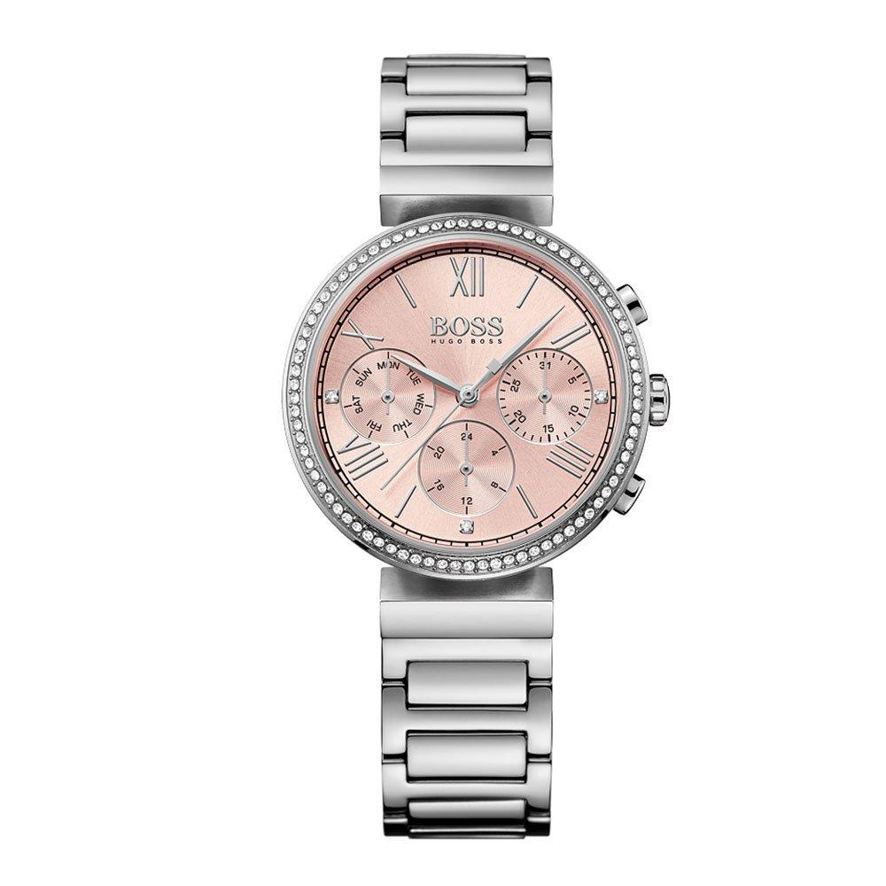 BOSS Pink Stone Set Chronograph Ladies Watch