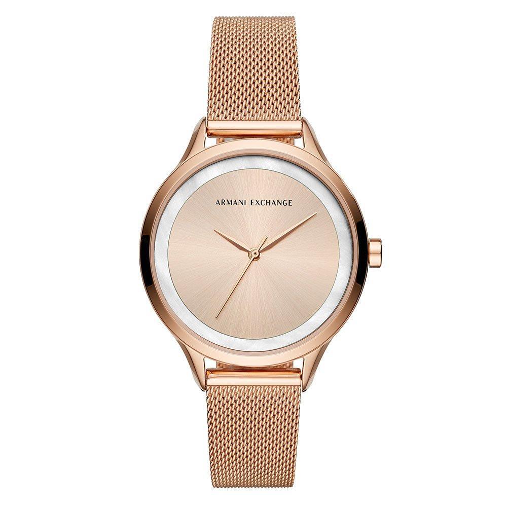 Armani Exchange Rose Gold Tone Mesh Ladies Watch