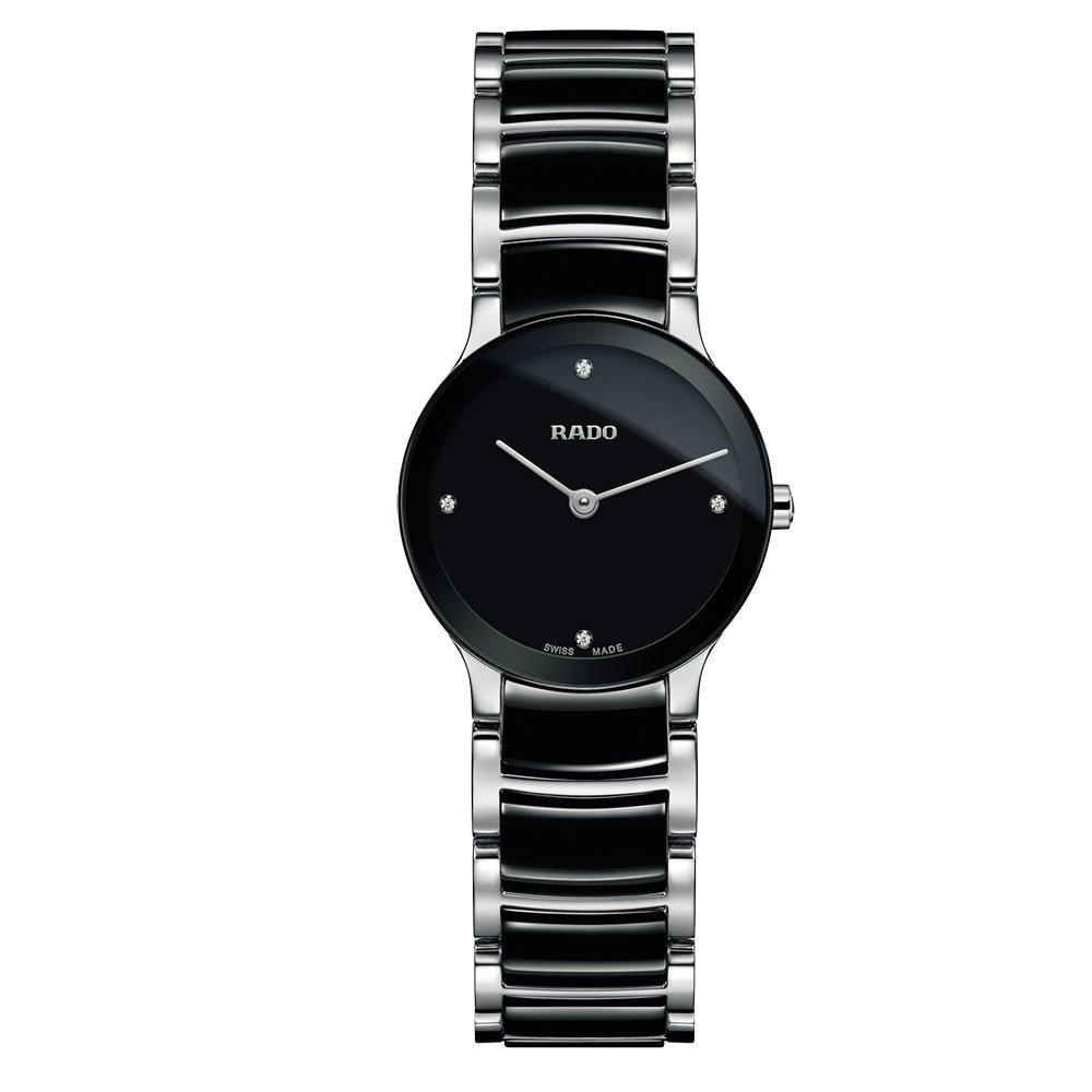 Rado Black Diamond Dot Steel and Ceramic Ladies Watch