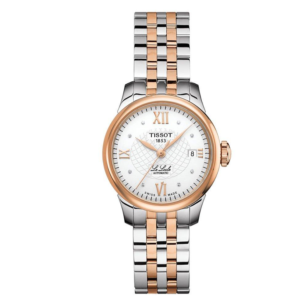 Tissot Le Locle Stainless Steel and Rose Gold Plated Diamond Automatic Ladies Watch