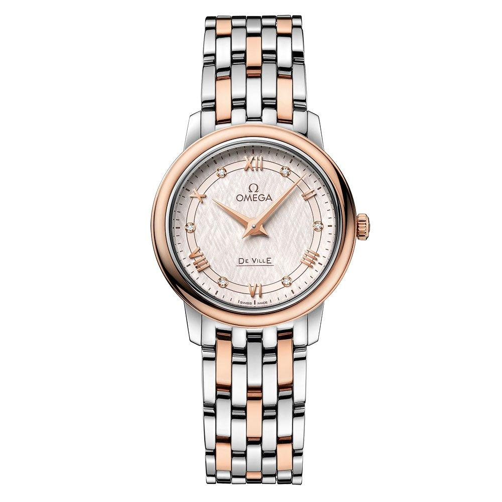 OMEGA De Ville Prestige Steel and 18ct Sedna Gold Diamond Ladies Watch