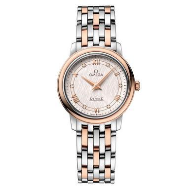 OMEGA De Ville Prestige 18ct Rose Gold and Steel Diamond Ladies Watch