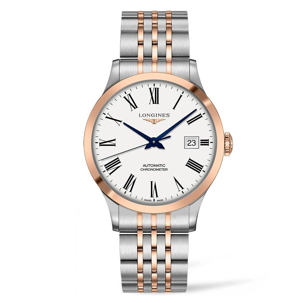 Longines Record Stainless Steel and Rose Gold Plated Chronometer Automatic Men's Watch