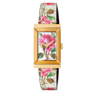 Gucci G-Frame Floral Gold PVD Ladies Watch
