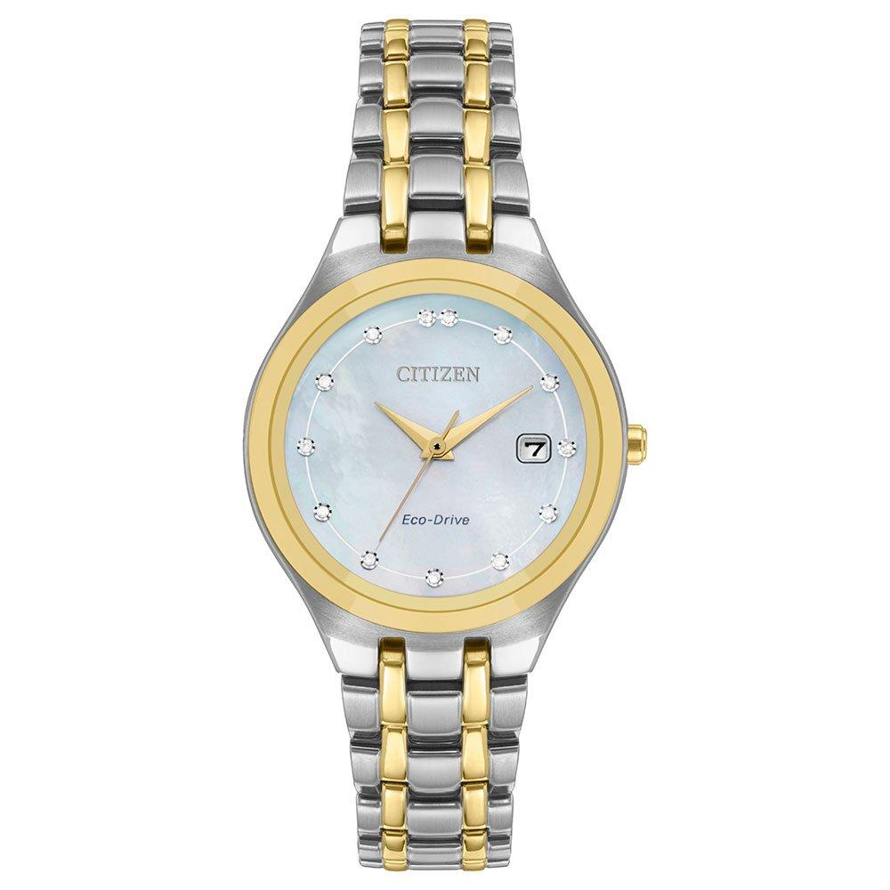 Citizen Eco-Drive Stainless Steel and Gold Plated Diamond Ladies Watch