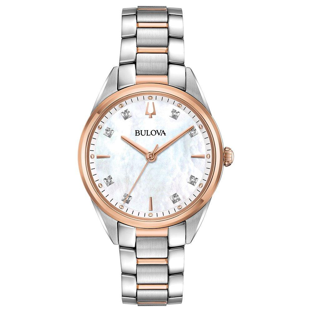Bulova Sutton Rose Gold Tone and Steel Diamond Ladies Watch