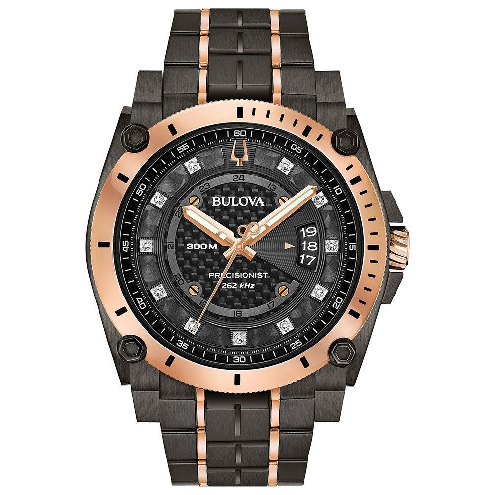 Bulova Precisionist Champlain Grey and Rose Tone Diamond Men's Watch