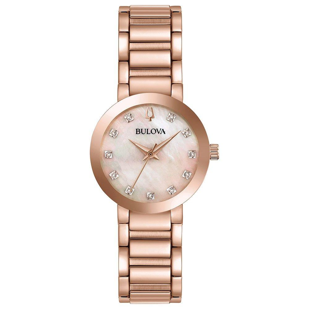 Bulova Modern Rose Gold Tone Diamond Ladies Watch