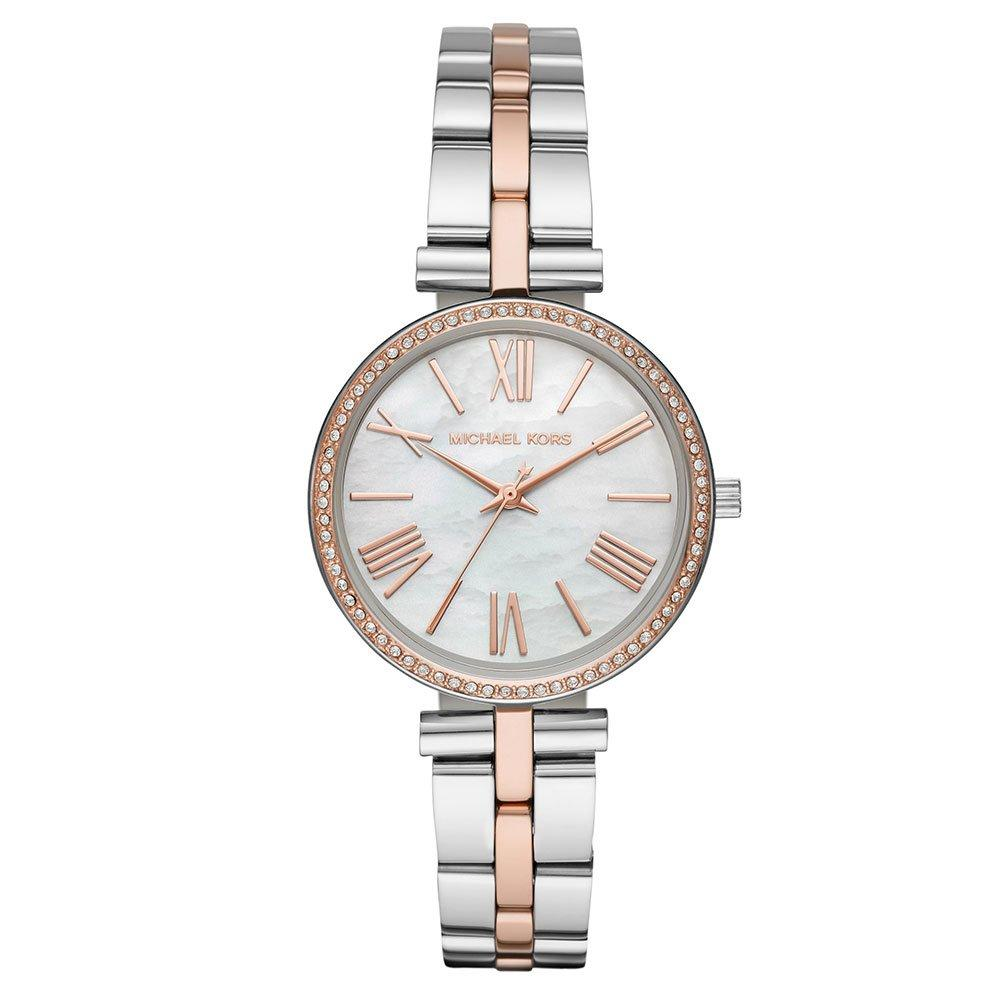 Michael Kors Maci Stainless Steel and Rose Gold Tone Crystal Ladies Watch