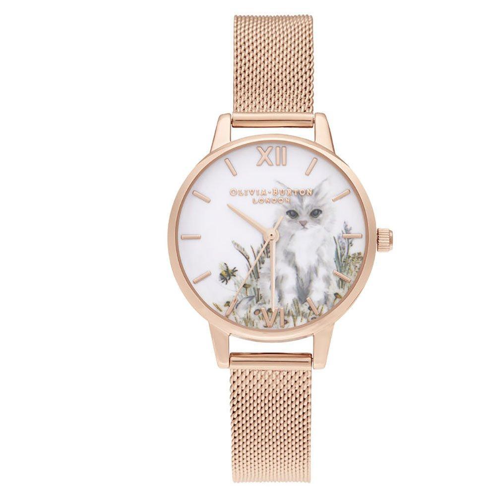 Olivia Burton Illustrated Cat Rose Gold Tone Ladies Watch