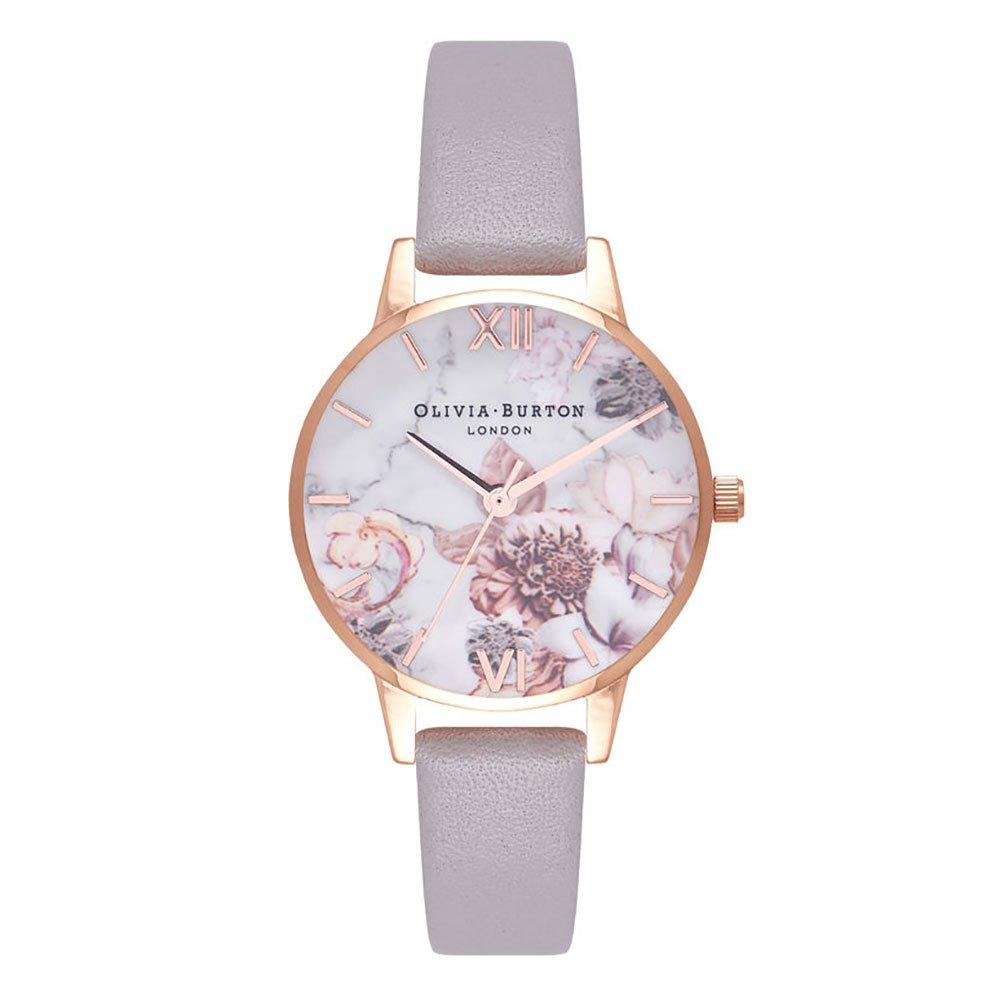 Olivia Burton Marble Floral Rose Gold Tone Ladies Watch