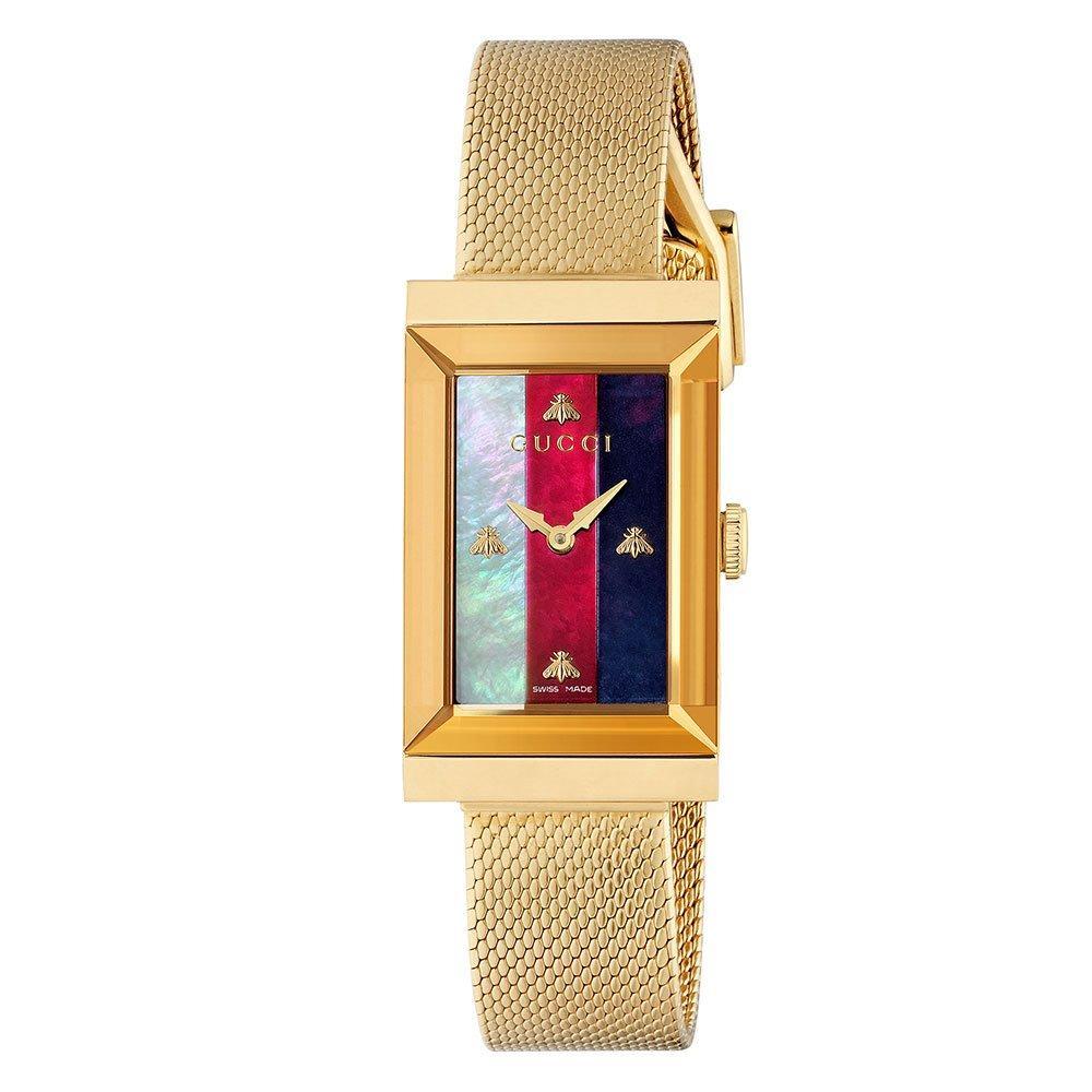 Gucci G-Frame Stripe Gold PVD Ladies Watch