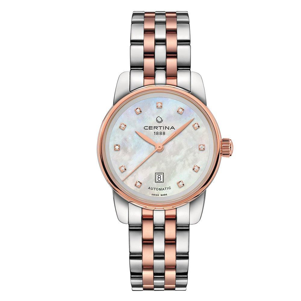 Certina DS Podium Stainless Steel and Rose Gold Plated Diamond Automatic Ladies Watch