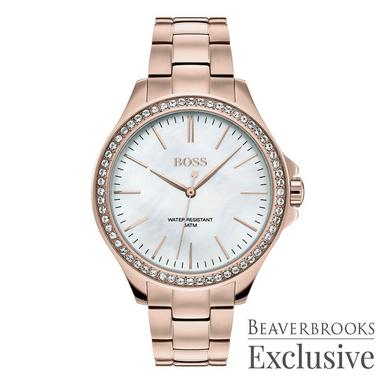 Hugo Boss Exclusive Rose Gold Ion Plated Ladies Watch