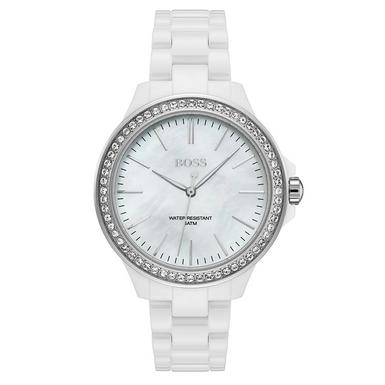 Hugo Boss White Ceramic Ladies Watch