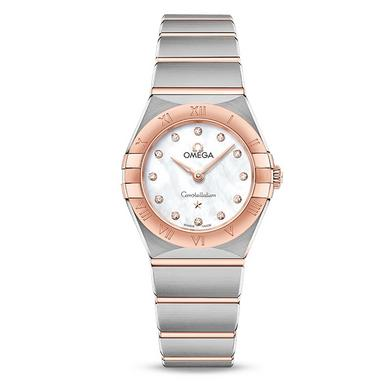 OMEGA Constellation Manhattan 18ct Rose Gold and Steel Diamond Ladies Watch