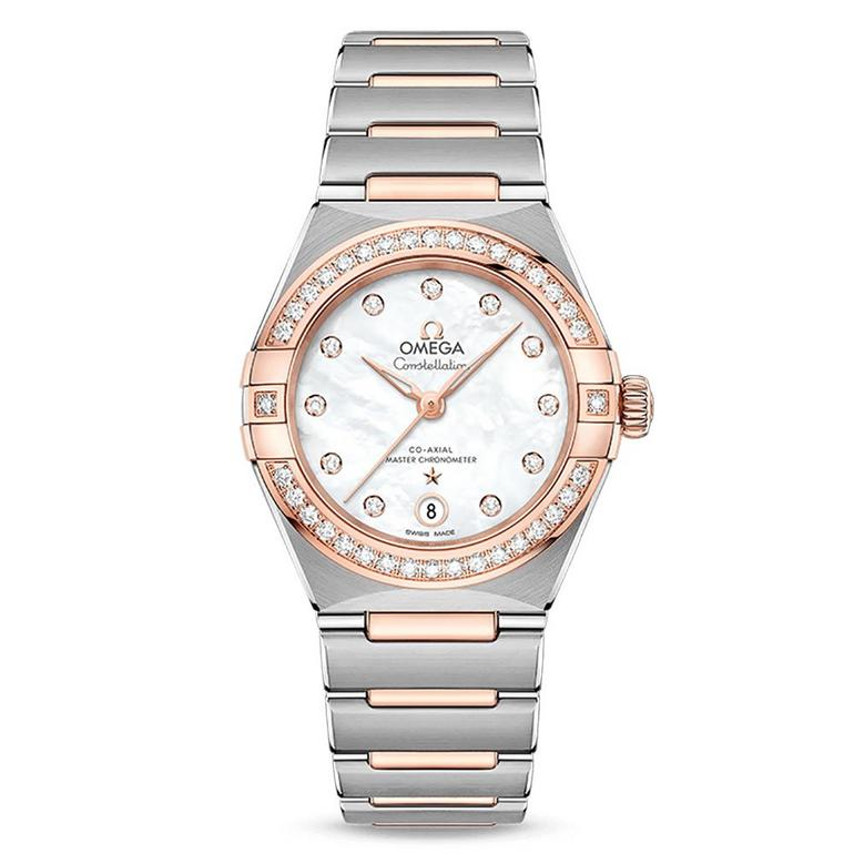 OMEGA Constellation Manhattan Steel and 18ct Sedna Gold Automatic Diamond Ladies Watch