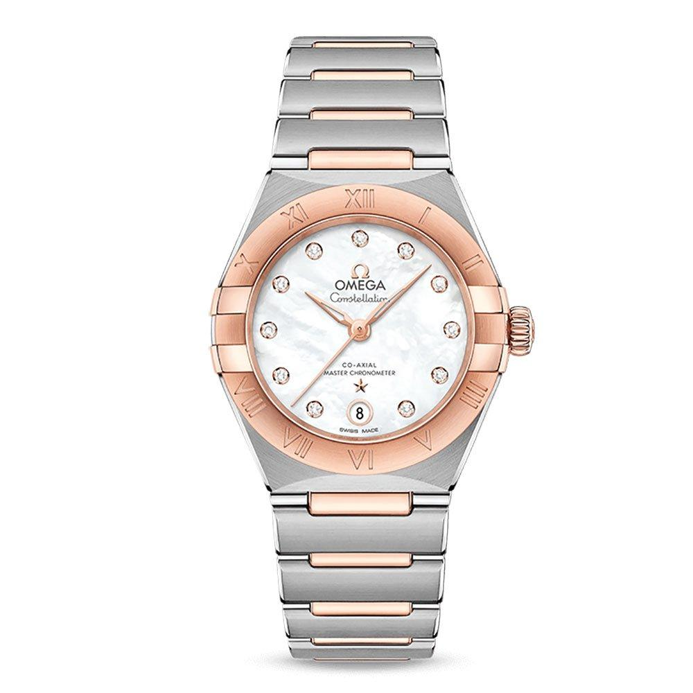 OMEGA Constellation Manhattan Steel and 18ct Rose Gold Co-Axial Diamond Ladies Watch