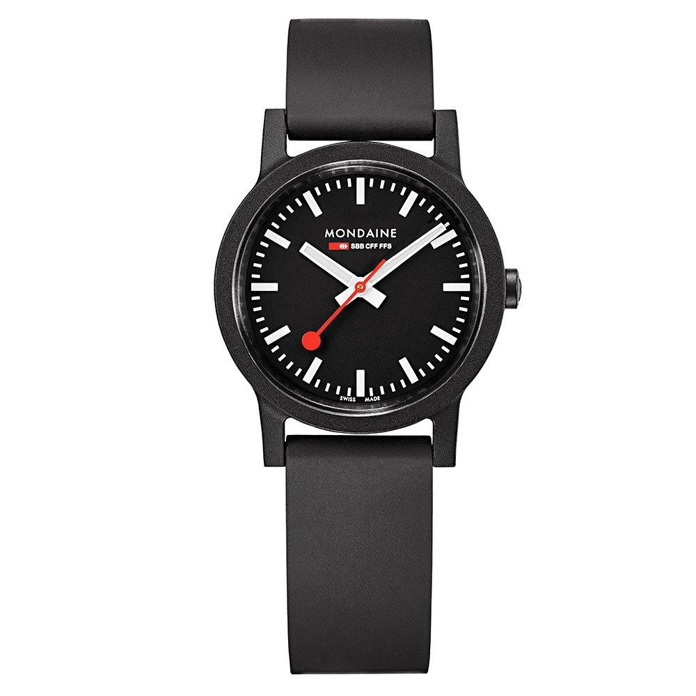 Mondaine Essence Black Rubber Ladies Watch