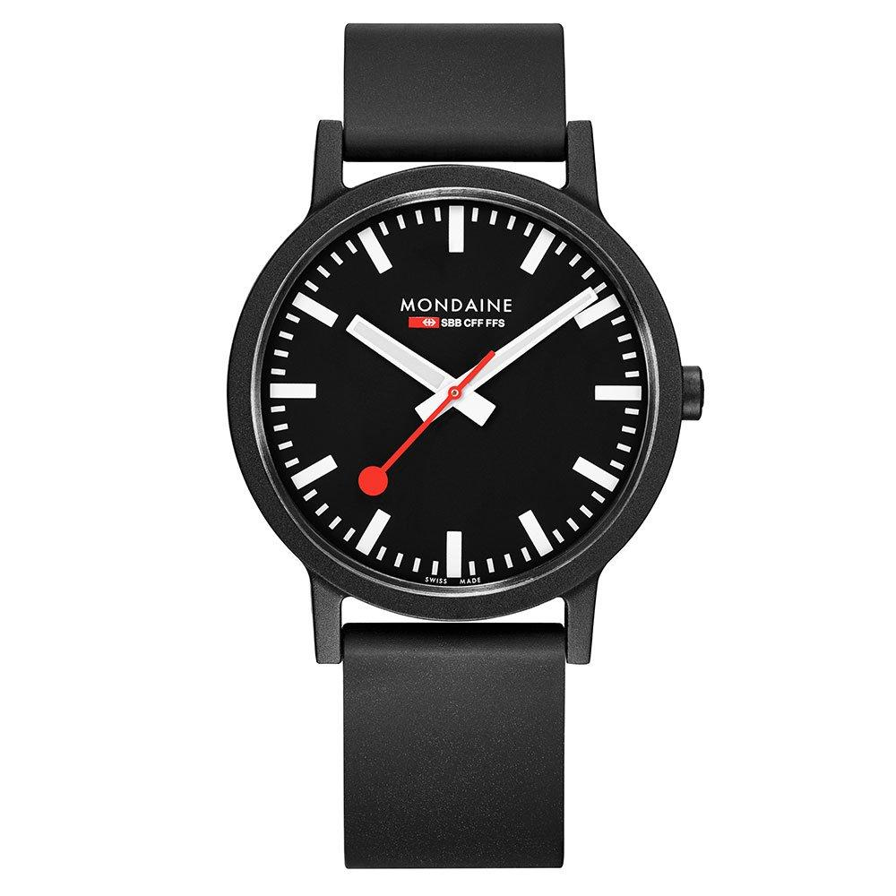 Mondaine Essence Black Rubber Men's Watch