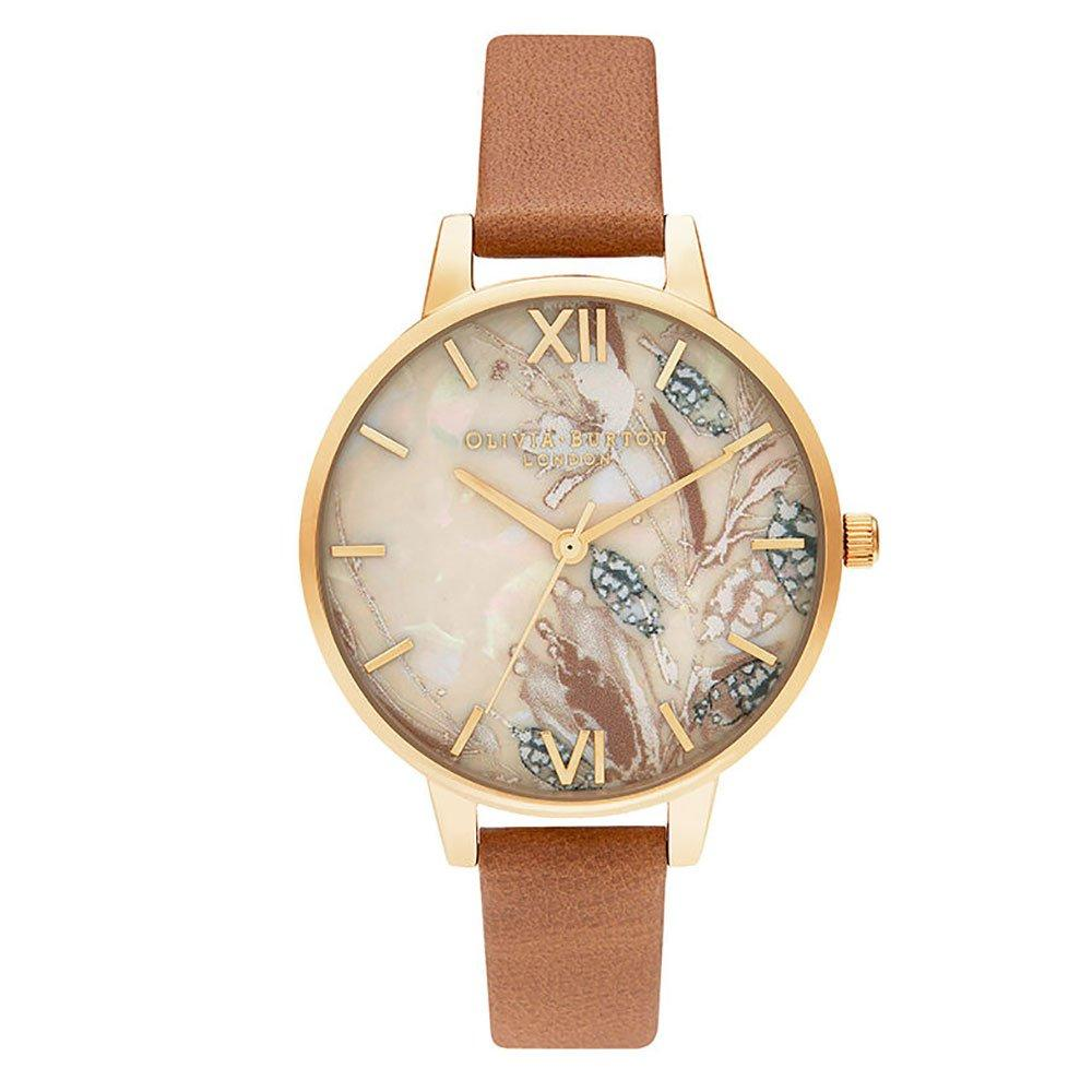 Olivia Burton Abstract Florals Gold Plated Honey Tan Ladies Watch