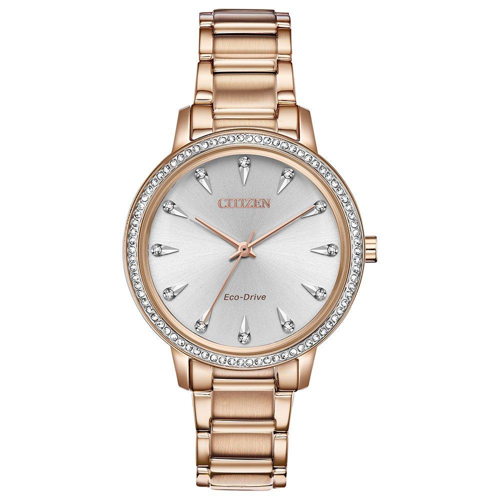 Citizen Eco-Drive Silhouette Rose Gold Tone Crystal Ladies Watch