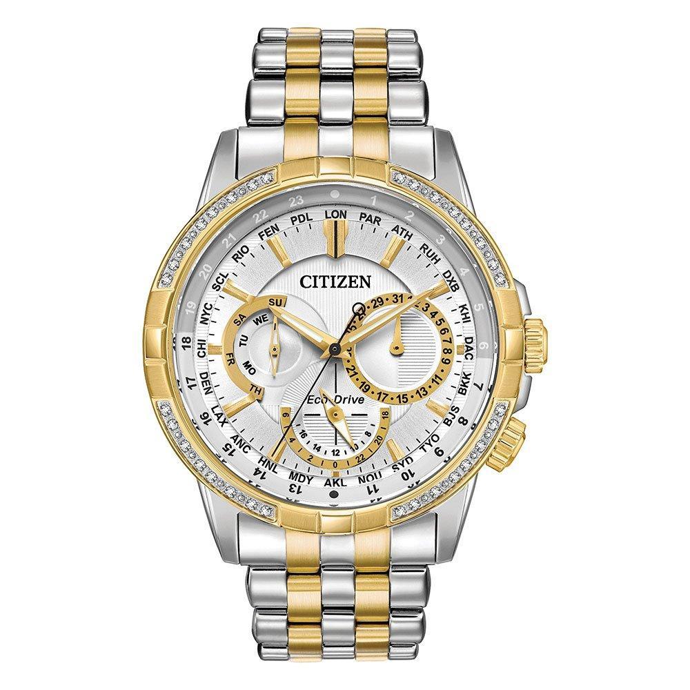 Citizen Eco-Drive Calendrier Diamond World Timer Men's Watch