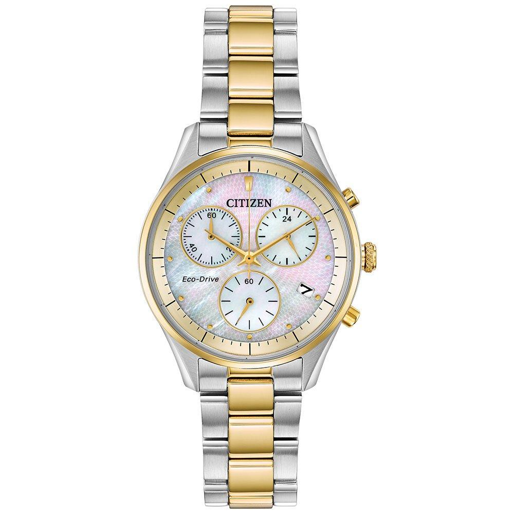 Citizen Eco-Drive Silhouette Steel and Gold Tone Chronograph Ladies Watch