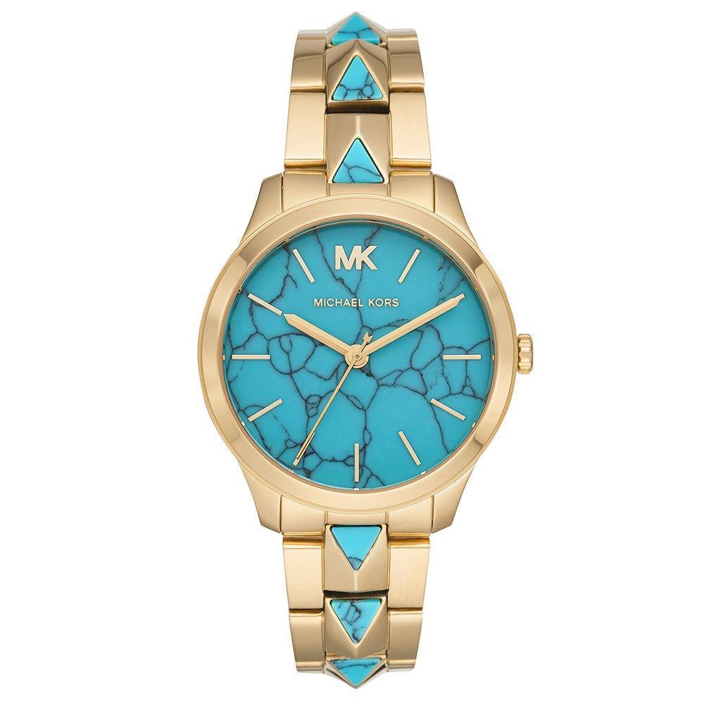 Michael Kors Runway Mercer Gold Tone and Turquoise Ladies Watch