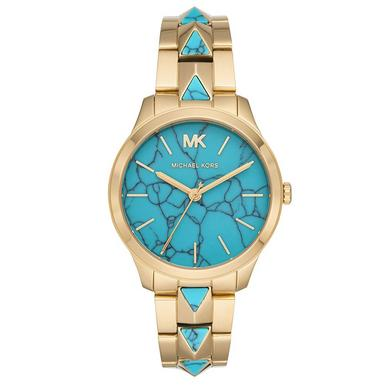 Michael Kors Runway Mercer Gold Tone and Turquoise Ladies Watch