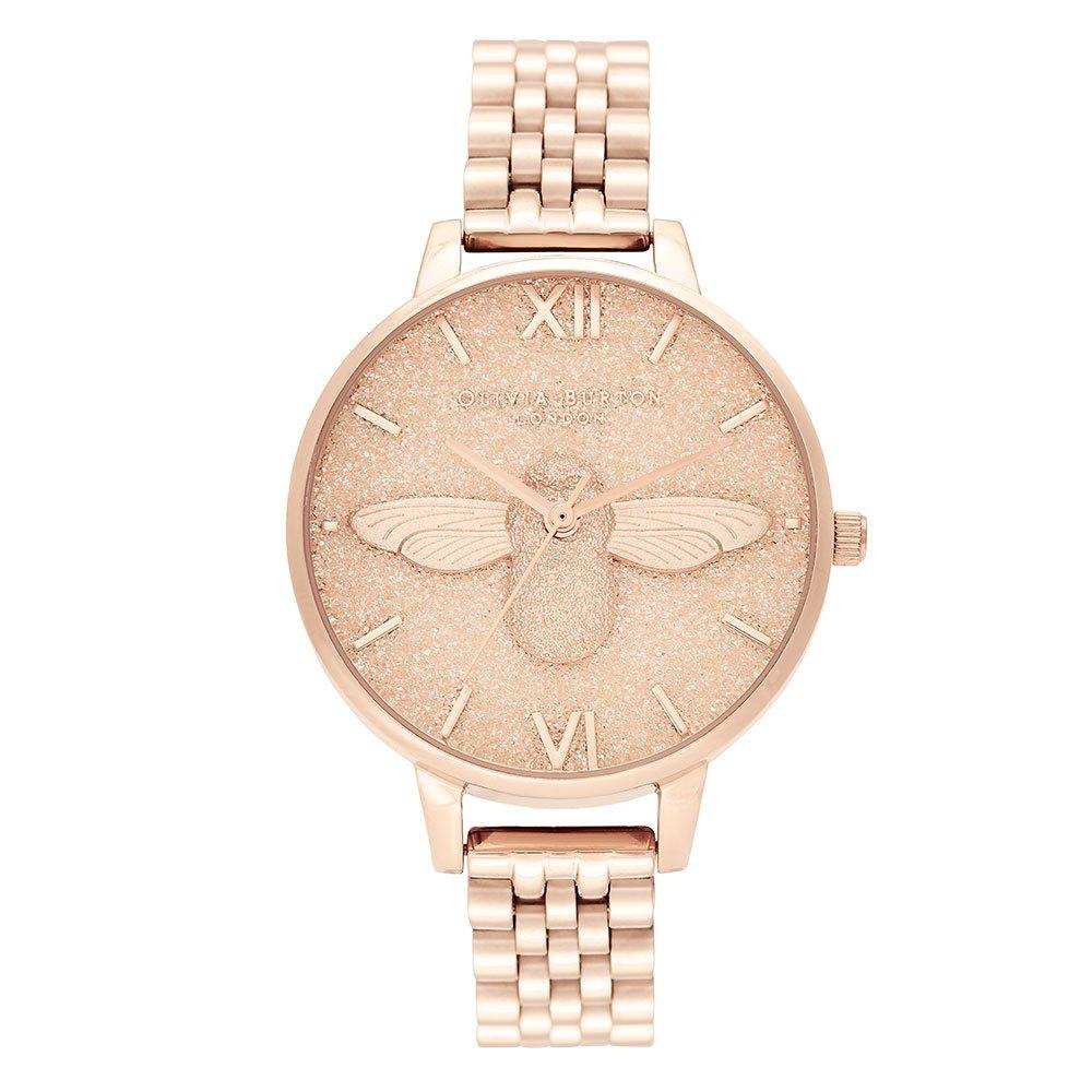Olivia Burton Glitter Dial 3D Bee Rose Gold Tone Ladies Watch